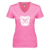 Next Level Ladies Junior Fit Deep V Pink Tee-Bulldog Head