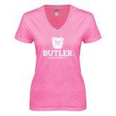 Next Level Ladies Junior Fit Ideal V Pink Tee-Butler University Stacked Bulldog Head