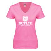 Next Level Ladies Junior Fit Deep V Pink Tee-Butler University Stacked Bulldog Head