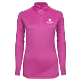 Ladies Syntrel Interlock Raspberry 1/4 Zip-Butler University Stacked Bulldog Head