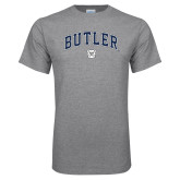 Grey T Shirt-Arched Butler w Bulldog Head