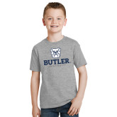 Youth Grey T-Shirt-Butler University Stacked Bulldog Head