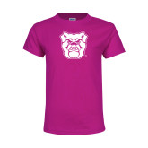 Youth Cyber Pink T Shirt-Bulldog Head