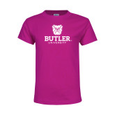 Youth Fuchsia T Shirt-Butler University Stacked Bulldog Head
