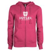 ENZA Ladies Fuchsia Fleece Full Zip Hoodie-Butler University Stacked Bulldog Head