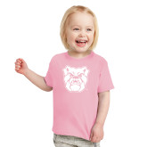 Toddler Pink T Shirt-Bulldog Head