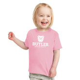 Toddler Pink T Shirt-Butler University Stacked Bulldog Head