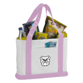 Contender White/Pink Canvas Tote-Bulldog Head