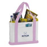 Contender White/Pink Canvas Tote-Butler University Stacked Bulldog Head