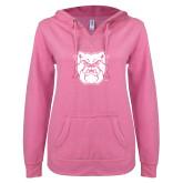 ENZA Ladies Hot Pink V Notch Raw Edge Fleece Hoodie-Bulldog Head