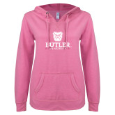 ENZA Ladies Hot Pink V Notch Raw Edge Fleece Hoodie-Butler University Stacked Bulldog Head