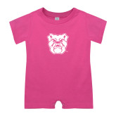 Bubble Gum Pink Infant Romper-Bulldog Head