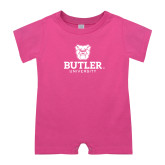 Bubble Gum Pink Infant Romper-Butler University Stacked Bulldog Head