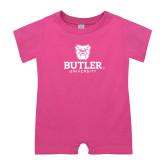 Bubble Gum Pink Infant Romper-Butler University Stacked Bulldog Head