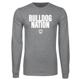 Grey Long Sleeve T Shirt-Bulldog Nation