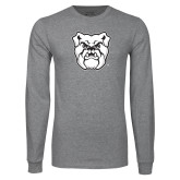 Grey Long Sleeve T Shirt-Bulldog Head