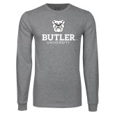 Grey Long Sleeve T Shirt-Butler University Stacked Bulldog Head
