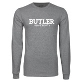 Grey Long Sleeve T Shirt-Butler University