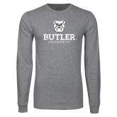 Grey Long Sleeve T Shirt-Butler University Stacked Bulldog Head Distressed
