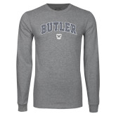 Grey Long Sleeve T Shirt-Arched Butler w Bulldog Head