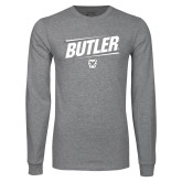 Grey Long Sleeve T Shirt-Slanted Lines
