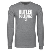 Grey Long Sleeve T Shirt-Butler Bulldogs Stacked Block Texture