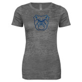 Next Level Ladies Junior Fit Dark Grey Burnout Tee-Bulldog Head Foil