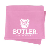 Pink Sweatshirt Blanket-Butler University Stacked Bulldog Head