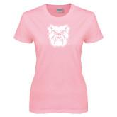 Ladies Pink T-Shirt-Bulldog Head