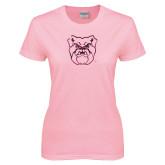 Ladies Pink T-Shirt-Bulldog Head Foil