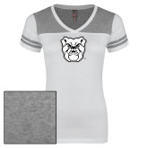 Ladies White/Heathered Nickel Juniors Varsity V Neck Tee-Bulldog Head
