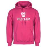 Fuchsia Fleece Hoodie-Butler University Stacked Bulldog Head