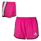 Ladies Fuchsia/White Team Short-Butler University Stacked Bulldog Head