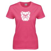 Ladies Fuchsia T Shirt-Bulldog Head