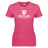 Ladies Fuchsia T Shirt-Butler University Stacked Bulldog Head