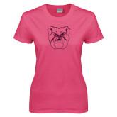 Ladies Fuchsia T Shirt-Bulldog Head Foil