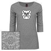 Ladies Grey Heather Tri Blend Lace 3/4 Sleeve Tee-Bulldog Head