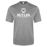 Performance Grey Heather Contender Tee-Butler University Stacked Bulldog Head