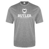 Performance Grey Heather Contender Tee-Butler University Stacked Bulldog Head