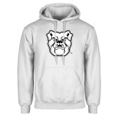 White Fleece Hoodie-Bulldog Head