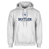 White Fleece Hoodie-Butler University Stacked Bulldog Head