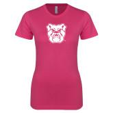 Ladies SoftStyle Junior Fitted Fuchsia Tee-Bulldog Head