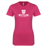 Ladies SoftStyle Junior Fitted Fuchsia Tee-Butler University Stacked Bulldog Head