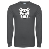Charcoal Long Sleeve T Shirt-Bulldog Head