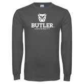 Charcoal Long Sleeve T Shirt-Butler University Stacked Bulldog Head