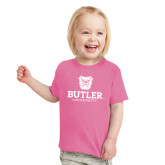 Toddler Fuchsia T Shirt-Butler University Stacked Bulldog Head