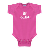 Fuchsia Infant Onesie-Butler University Stacked Bulldog Head