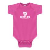 Fuchsia Infant Onesie-Butler University Stacked Bulldog Head