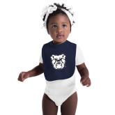 Navy Baby Bib-Bulldog Head