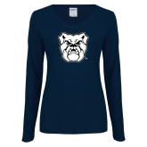 Ladies Navy Long Sleeve V Neck Tee-Bulldog Head